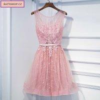 0054 Krátké tylové šaty pudrové růžové a malinové barvy