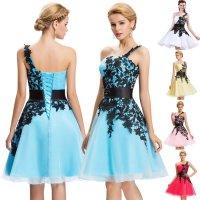 0049 Koktejlové šaty s krajkou ve 3 barvách
