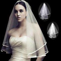 Svatební závoj s lemem bílý nebo smetanový