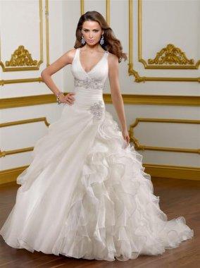 Dámské svatební šaty na ramínka