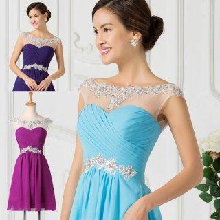 0051 Koktejlové šaty ke krku světle modré, fialové a tmavě modré