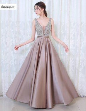 0093 Krásné saténové šaty s hlubokým výstřihem do V - všechny barvy