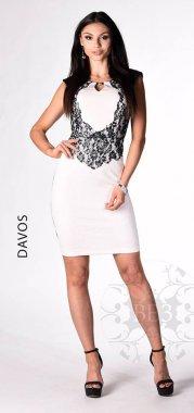 0057 DAVOS modro smetanové šaty - VYPRODÁNO